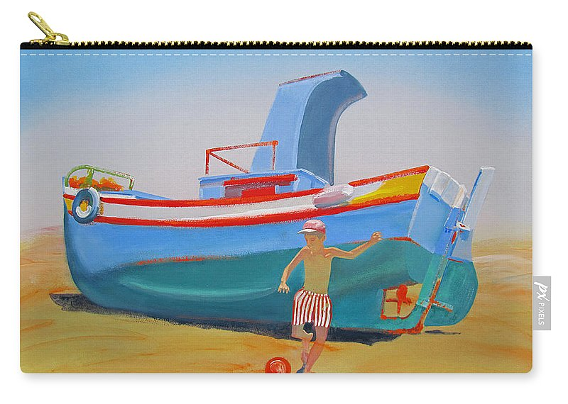 Boy Carry-all Pouch featuring the painting Fishing Boat Tavira with Soccer by Charles Stuart
