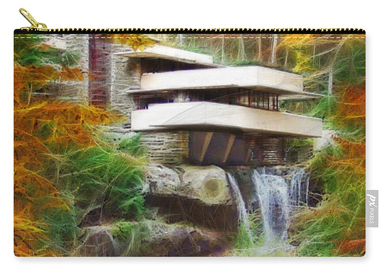 Affordable Art Carry-all Pouch featuring the digital art Fixer Upper - Frank Lloyd Wright's Fallingwater by Studio B Prints