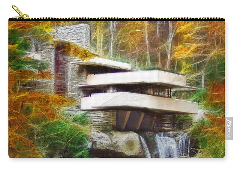 Frank Lloyd Wright Carry-all Pouch featuring the digital art Fixer Upper - Square Version - Frank Lloyd Wright's Fallingwater by John Robert Beck