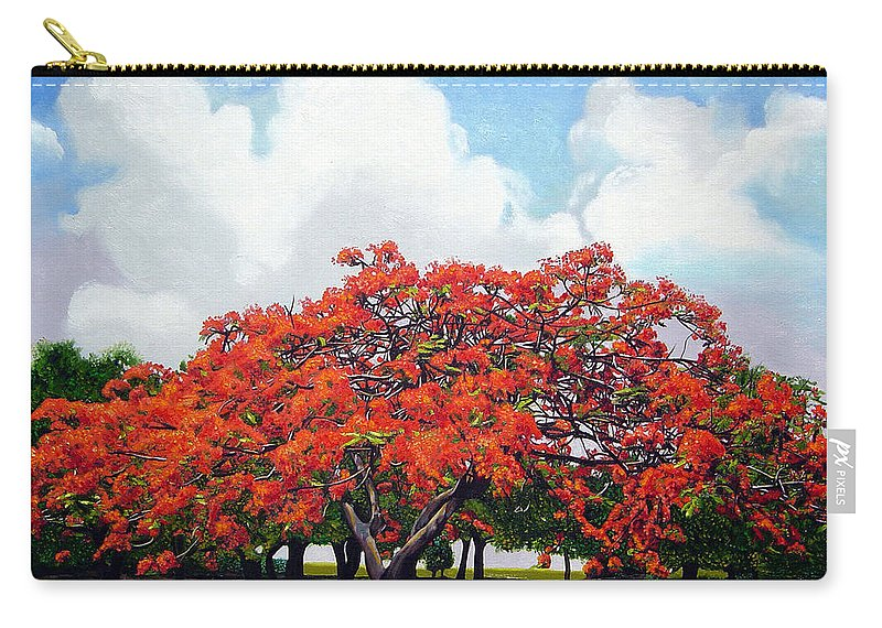 Cuban Art Carry-all Pouch featuring the painting Flamboyan by Jose Manuel Abraham