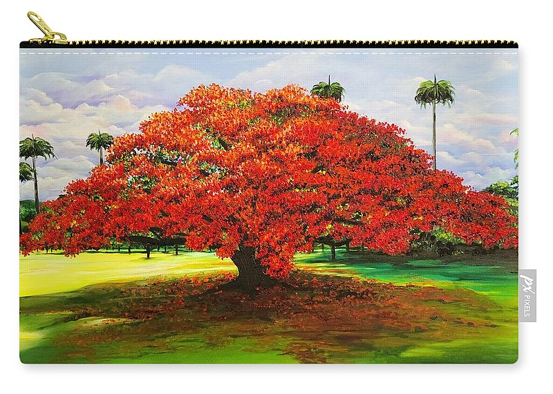 Flamboyant Tree Carry-all Pouch featuring the painting Flamboyant Ablaze by Karin Dawn Kelshall- Best