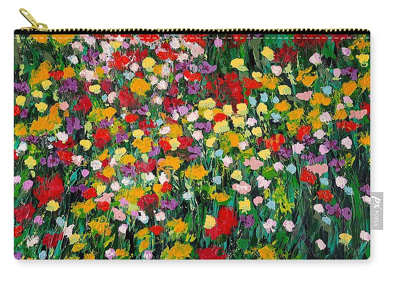 Landscape Carry-all Pouch featuring the painting Floral Eruption by Allan P Friedlander