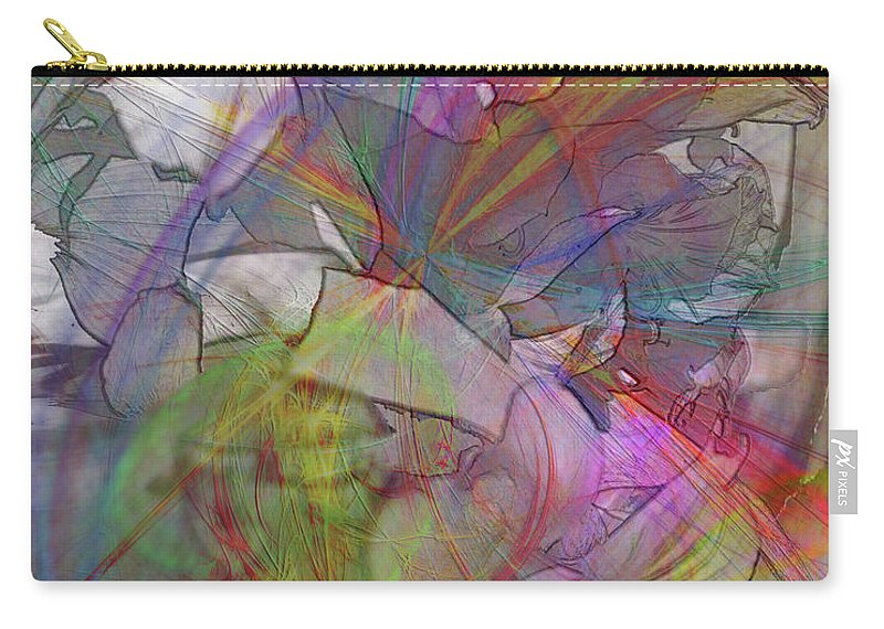 Floral Fantasy Carry-all Pouch featuring the digital art Floral Fantasy by John Robert Beck