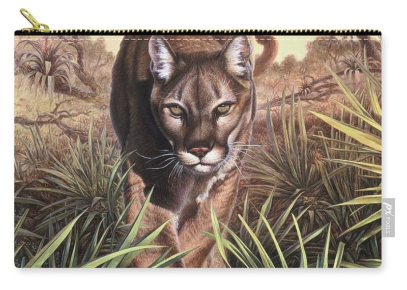 Florida Carry-all Pouch featuring the painting Florida Panther by Hans Droog