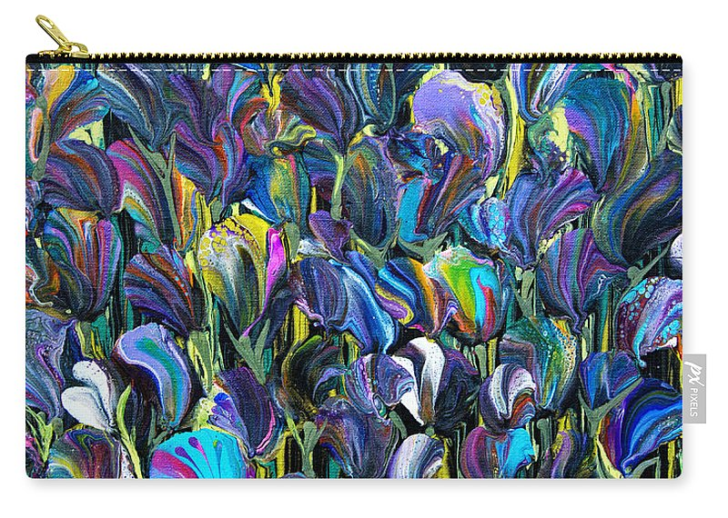 Flowers Abundance Lush Colorful Vibrant Seductive Pretty Carry-all Pouch featuring the painting Flower Fantasy 6187 by Priscilla Batzell Expressionist Art Studio Gallery