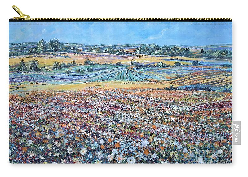 Flower Carry-all Pouch featuring the painting Flower Field by Sinisa Saratlic