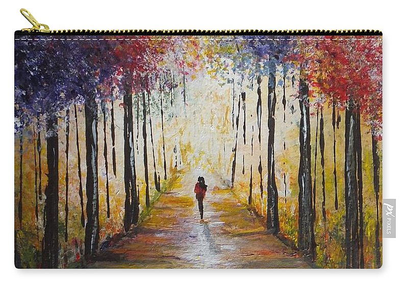 Colors Carry-all Pouch featuring the painting Follow Your Path by Lisa Cini