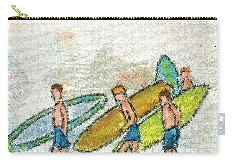 Carry-all Pouch featuring the painting Following The Waves by Hew Wilson