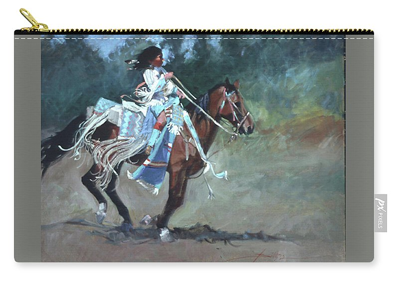 Native American Carry-all Pouch featuring the painting Foot Loose by Betty Jean Billups