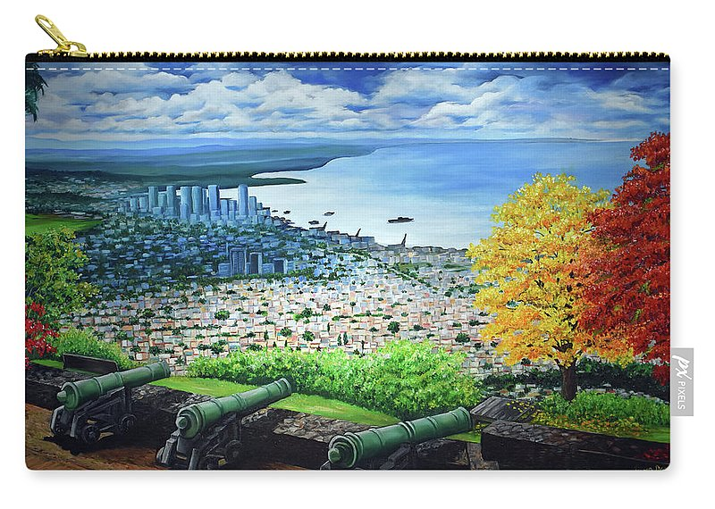 Fort Carry-all Pouch featuring the painting FORT GEORGE  Trinidad by Karin Dawn Kelshall- Best