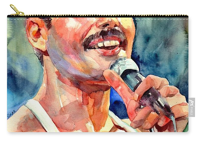 Freddie Mercury Carry-all Pouch featuring the painting Freddie Mercury Live Aid by Suzann Sines