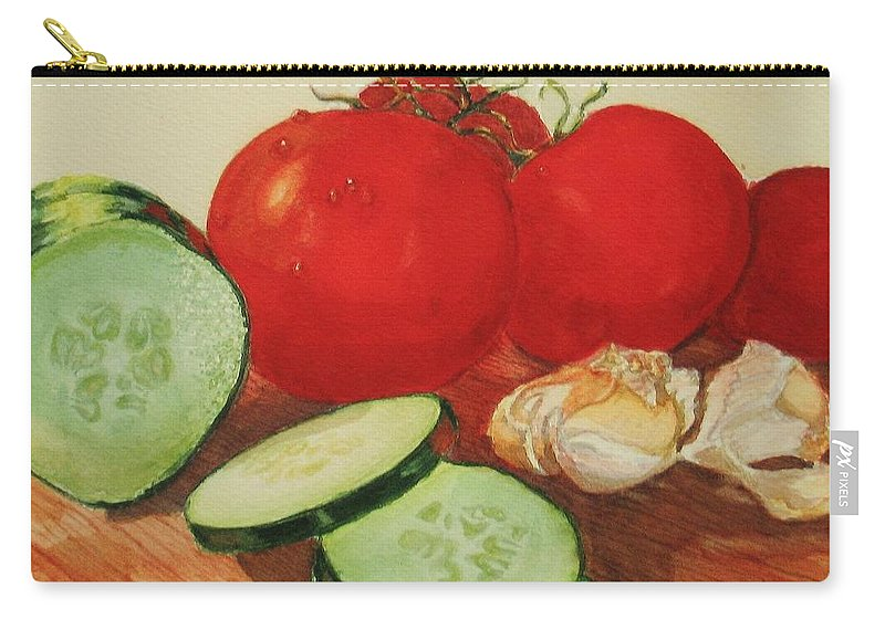 Still Life Carry-all Pouch featuring the painting Fresh Veggies by Karen Ilari