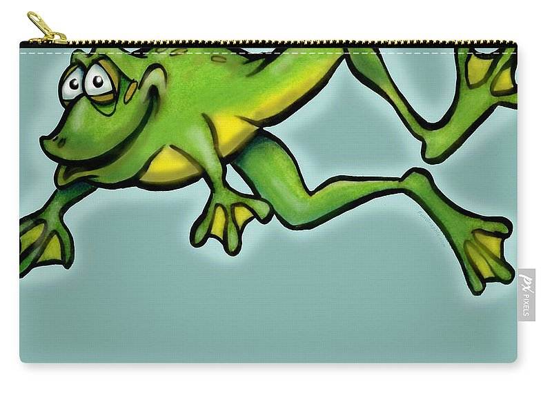 Frog Carry-all Pouch featuring the digital art Frog by Kevin Middleton