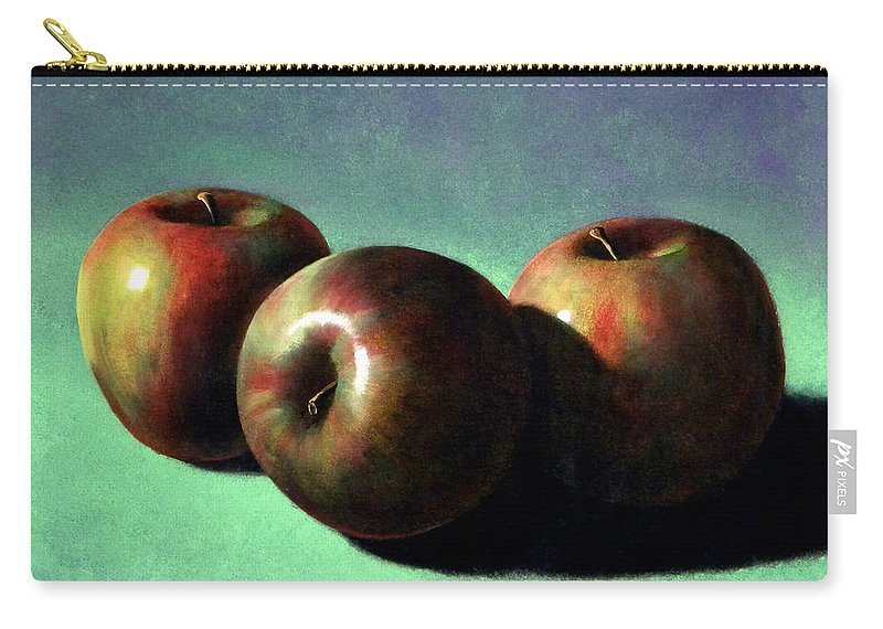 Still Life Carry-all Pouch featuring the painting Fuji Apples by Frank Wilson