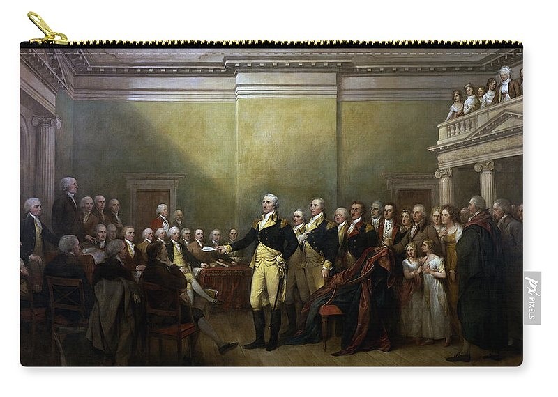 George Washington Carry-all Pouch featuring the painting General Washington Resigning His Commission by War Is Hell Store
