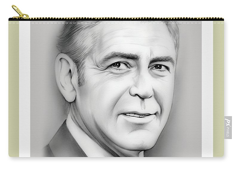 George Clooney Carry-all Pouch featuring the drawing George Clooney birthday by Greg Joens