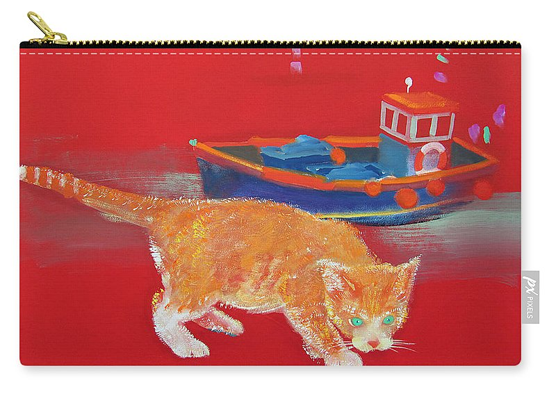Cat Carry-all Pouch featuring the painting Ginger Tabby Cat by Charles Stuart