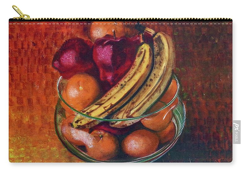 Oil Painting On Canvas Carry-all Pouch featuring the painting Glass Bowl Of Fruit by Sean Connolly