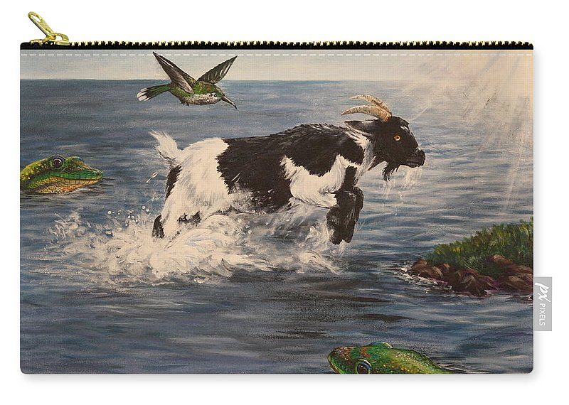 Goat Carry-all Pouch featuring the painting Goat in Ocean by Michelle Miron-Rebbe