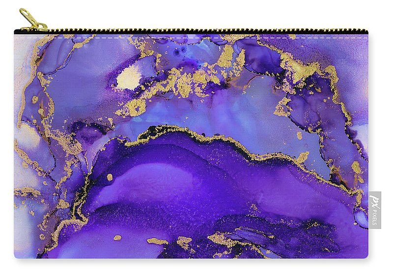 Abstract Ink Carry-all Pouch featuring the painting Gold Iris Abstract Ink by Olga Shvartsur