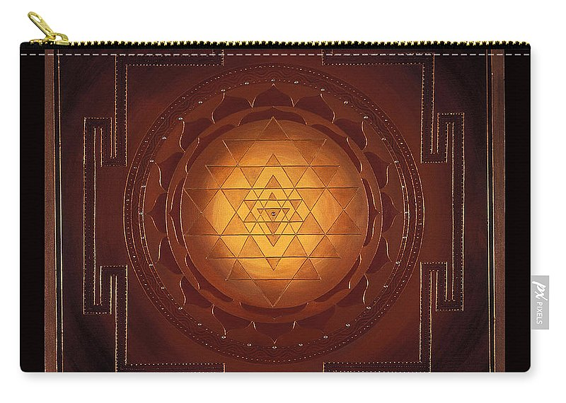 Mandala Carry-all Pouch featuring the painting Golden Sri Yantra by Charlotte Backman