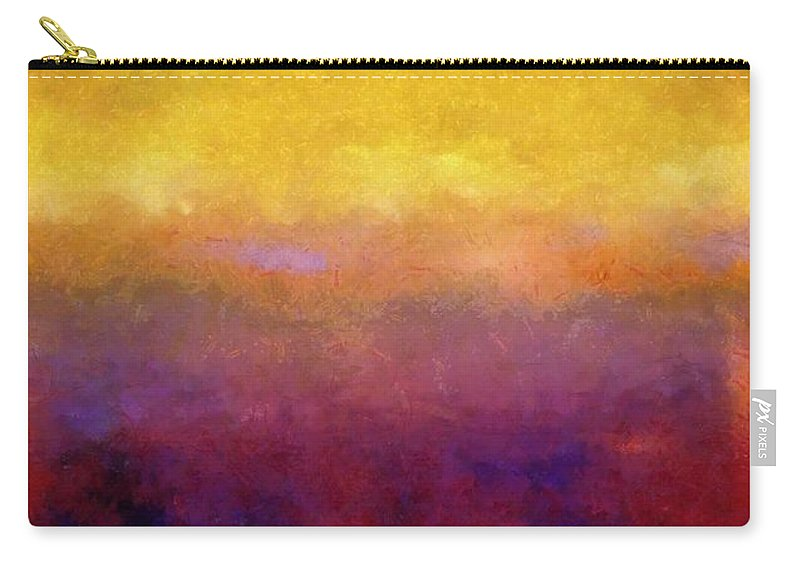 Abstract Carry-all Pouch featuring the painting Golden Sunset by Michelle Calkins