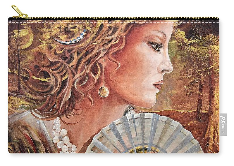 Female Portrait Carry-all Pouch featuring the painting Golden Wood by Sinisa Saratlic