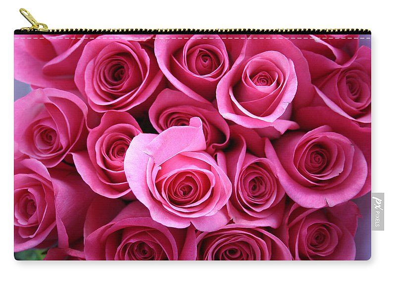 Pink Roses Carry-all Pouch featuring the photograph Grandma Roses by Linda Sannuti