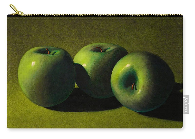 Still Life Carry-all Pouch featuring the painting Green Apples by Frank Wilson