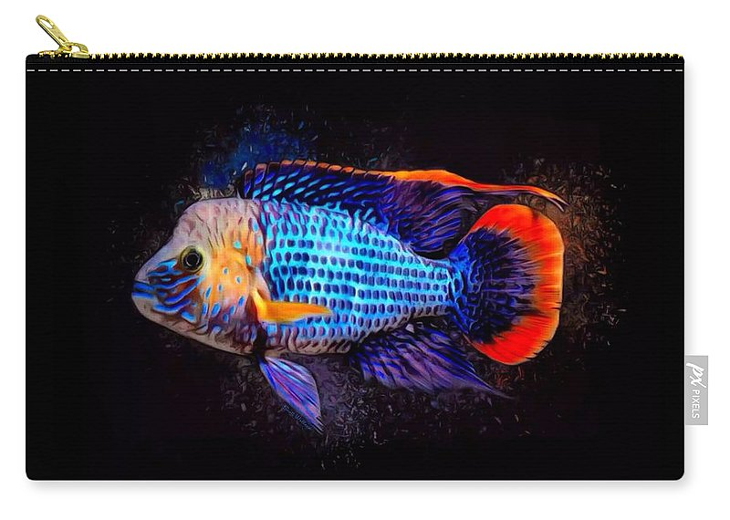 Green Terror Carry-all Pouch featuring the digital art Green Terror Cichlid Fish by Scott Wallace Digital Designs