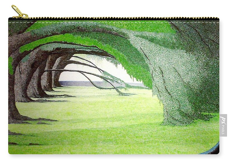 Group Bonsai Carry-all Pouch featuring the painting Grove Illusion by A Robert Malcom