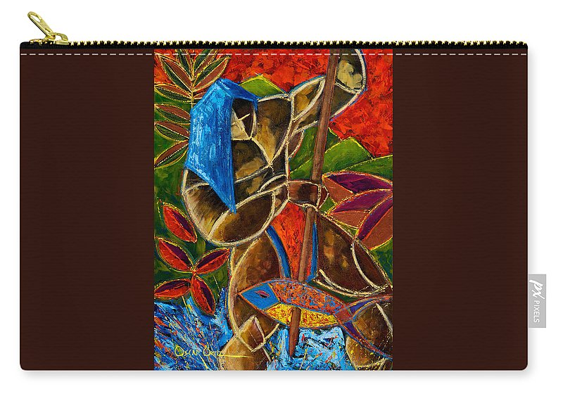 Puerto Rico Carry-all Pouch featuring the painting Guarani... hombre de familia by Oscar Ortiz