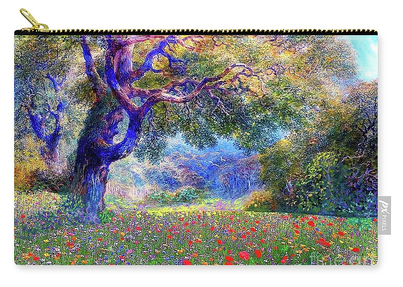 Wildflower Carry-all Pouch featuring the painting Happiness Blooming by Jane Small