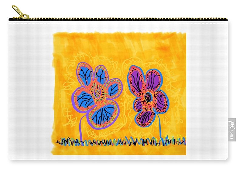 Colorado Carry-all Pouch featuring the drawing Happy Flower Buddies by Pam Roth O'Mara