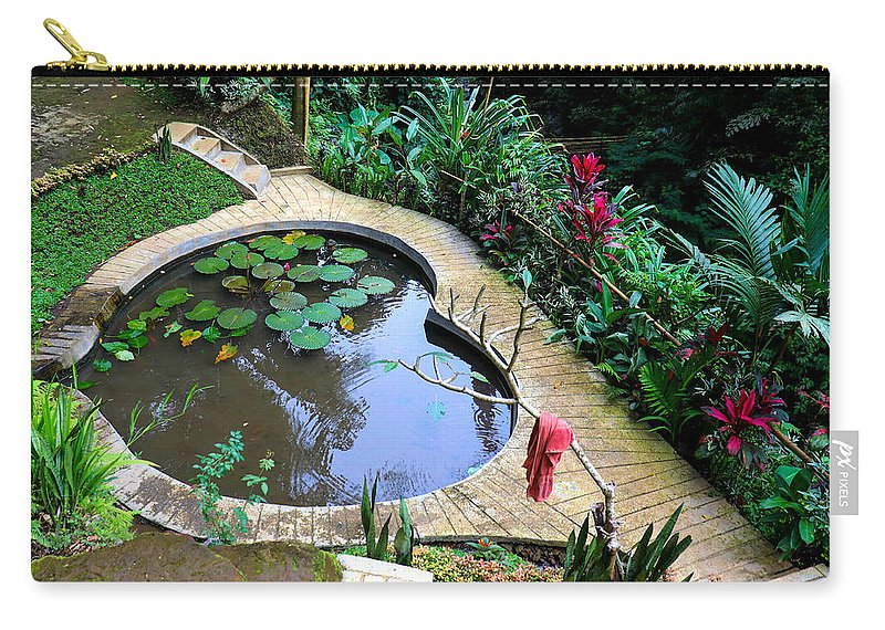 Heart Carry-all Pouch featuring the digital art Heart-shaped pond with water lilies by Worldvibes1
