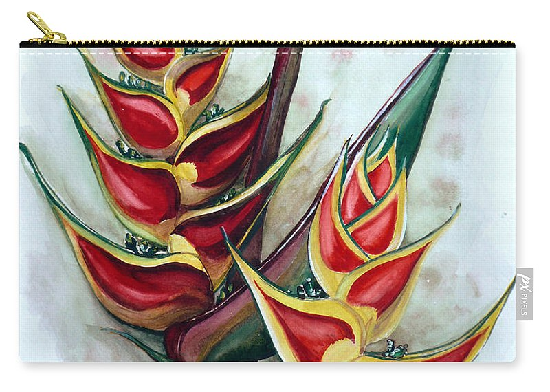 Caribbean Painting Flower Painting Floral Painting Heliconia Painting Original Watercolor Painting Of Heliconia Bloom  Trinidad And Tobago Painting Botanical Painting Carry-all Pouch featuring the painting Heliconia Tropicana Trinidad by Karin Dawn Kelshall- Best