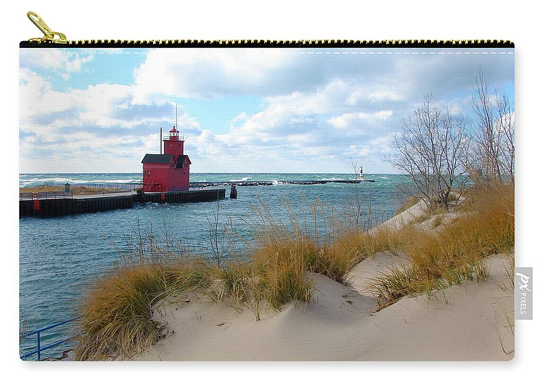 Lighthouse Carry-all Pouch featuring the photograph Holland Harbor Lighthouse - Big Red - Michigan by Michelle Calkins