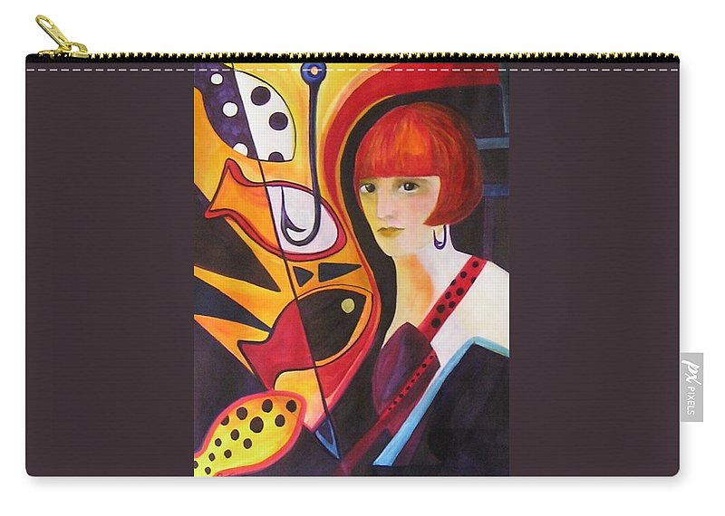 Woman Carry-all Pouch featuring the painting Hooked by Carolyn LeGrand