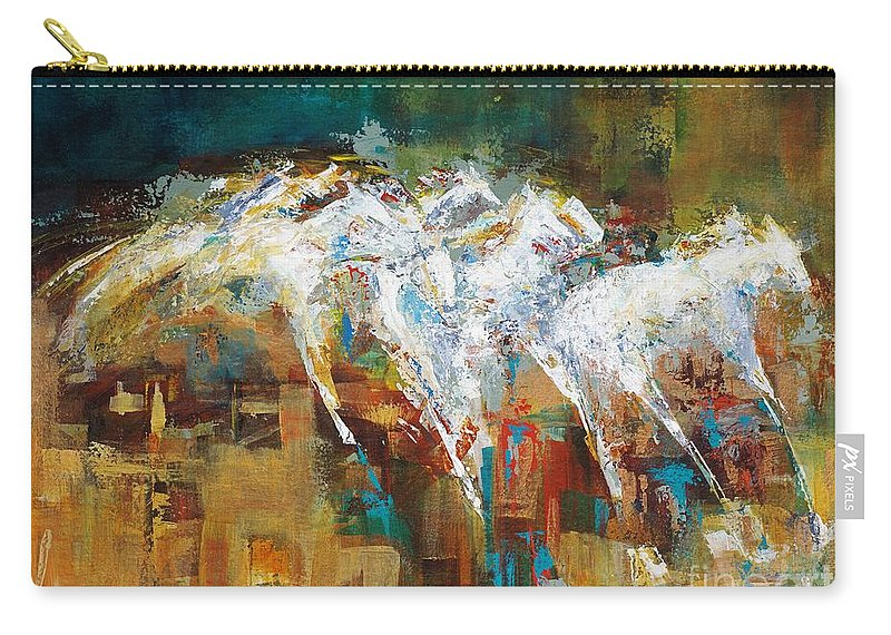 Abstract Carry-all Pouch featuring the painting Horses West of Boulder by Frances Marino