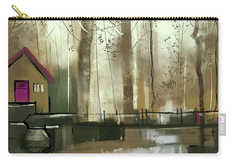 Nature Carry-all Pouch featuring the digital art House In The Woods by Anil Nene