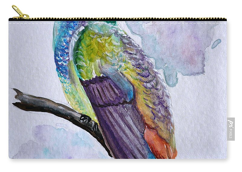Humming Bird Painting Bird Painting Tropical Painting Caribbean Painting Carry-all Pouch featuring the painting Hummingbird 1 by Karin Dawn Kelshall- Best