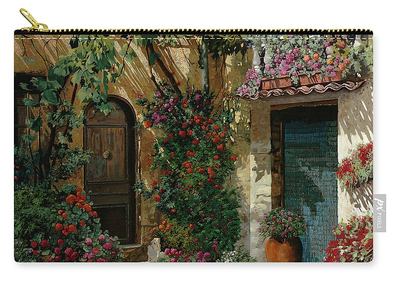 Landscape Carry-all Pouch featuring the painting Fiori In Cortile by Guido Borelli