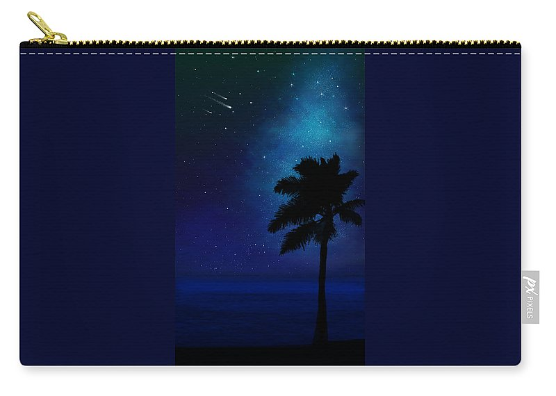 Illusion Murals Carry-all Pouch featuring the painting Illusion Mural Palm On Beach by Frank Wilson