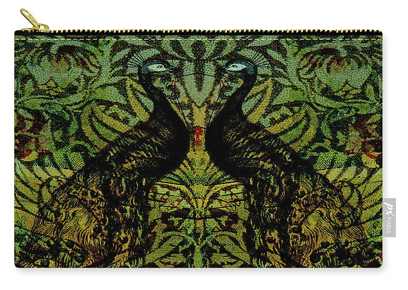 Peafowls Carry-all Pouch featuring the digital art Indian Blue Peafowl Pattern by Sarah Vernon