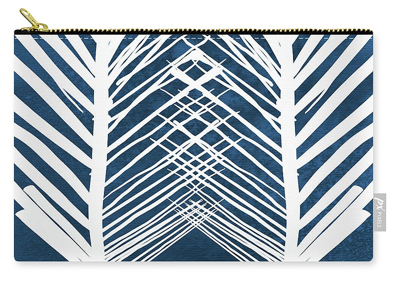 Leaves Carry-all Pouch featuring the painting Indigo and White Leaves- Abstract Art by Linda Woods