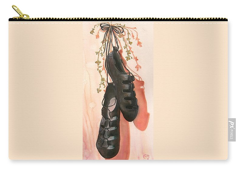 Irish Dance Shoes Clover Carry-all Pouch featuring the painting Irish Dance Shoes by Anna Mulfinger