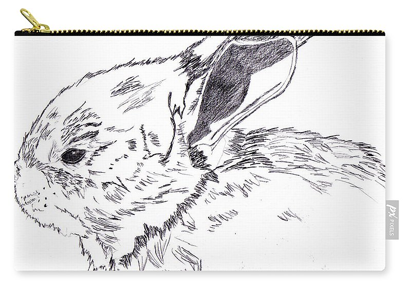 Bunny Carry-all Pouch featuring the drawing It's Peanut the Bunny Time by Crystal Hubbard