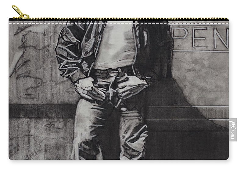 Charcoal On Paper Carry-all Pouch featuring the drawing James Dean by Sean Connolly