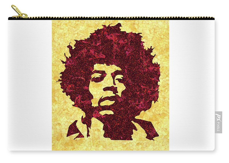 Jimi Hendrix Print Carry-all Pouch featuring the mixed media Jimi Hendrix Print, Jimi Hendrix Poster, Rock Music Lovers Gift by Irina Pospelova
