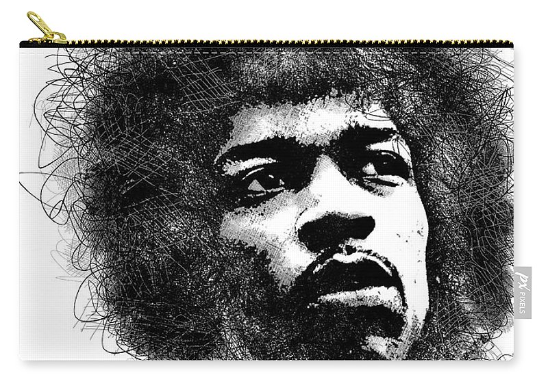Jimi Hendrix Carry-all Pouch featuring the digital art Jimi Hendrix scribbles portrait by Mihaela Pater
